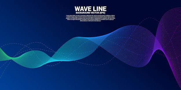 Blue sound wave line curve on dark background. Premium Vector