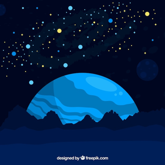 Blue space landscape background