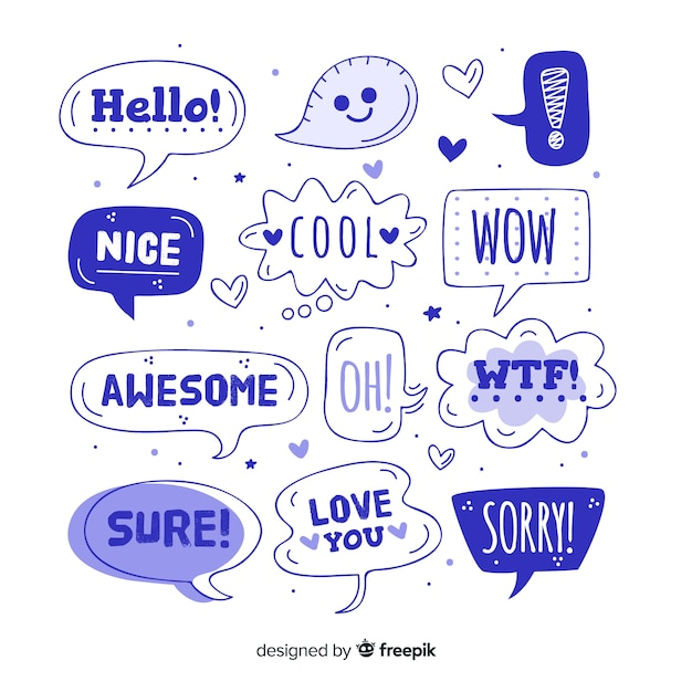Blue speech balloons with different expressions Free Vector