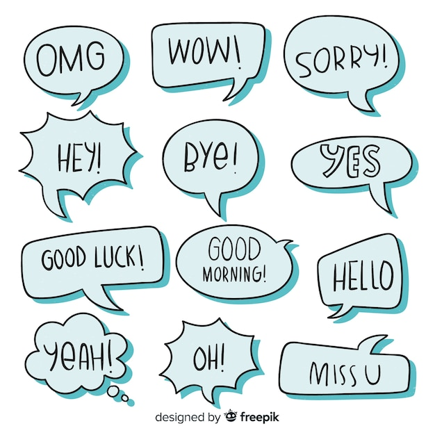 Blue speech bubbles with different expressions Free Vector