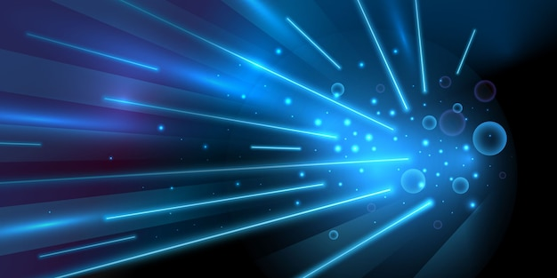 Blue speed light with glowing lines background Free Vector
