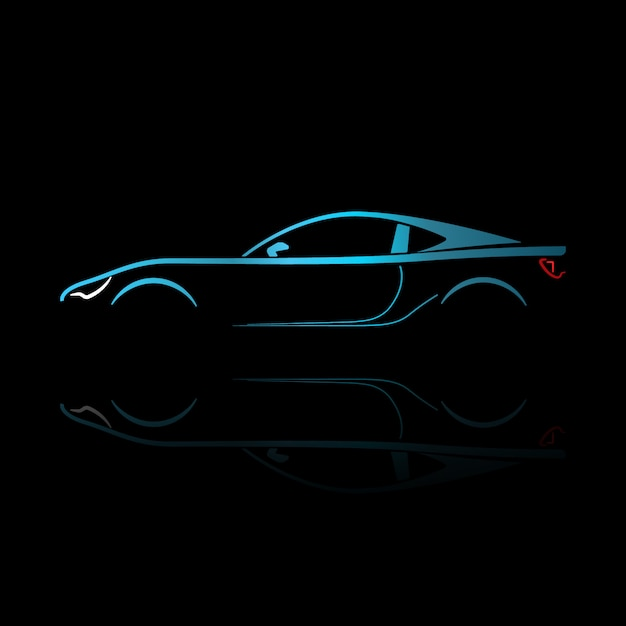 Blue sport car silhouette with reflection. Premium Vector
