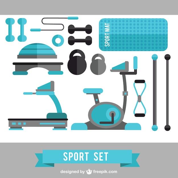 Blue sport set Free Vector
