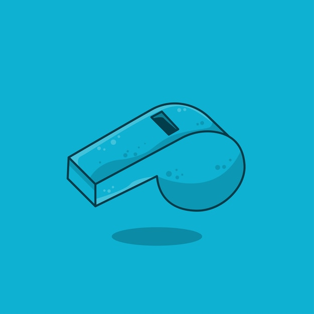 Blue sport whistle icon flat design, vector illustration Premium Vector