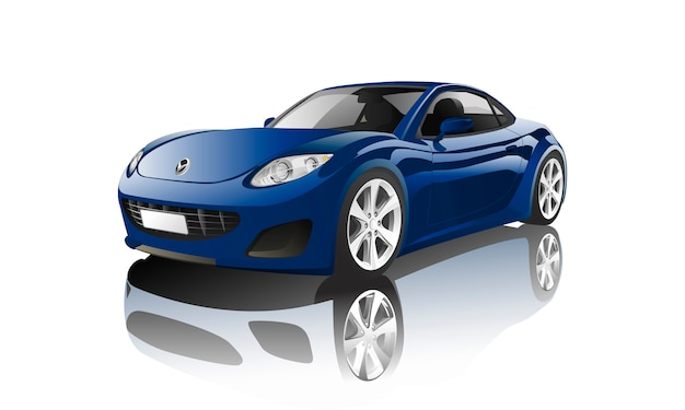 Blue sports car isolated on white vector Free Vector