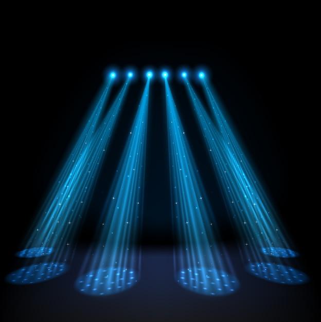 Blue spotlights on dark background Premium Vector