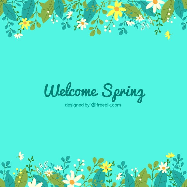 blue spring background with cute flowers in flat design