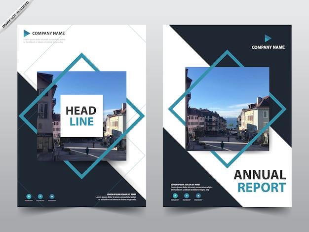 Blue Square Brochure Template Premium Vector