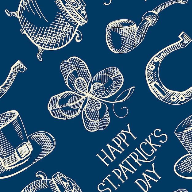 Blue st patricks day seamless pattern with clover hat horseshoe smoking pipe pot of gold coins Free Vector