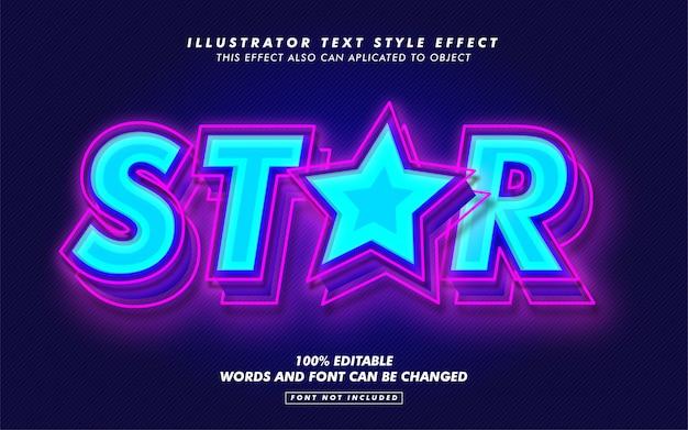 青い星のテキストスタイルの効果のモックアップ Premiumベクター