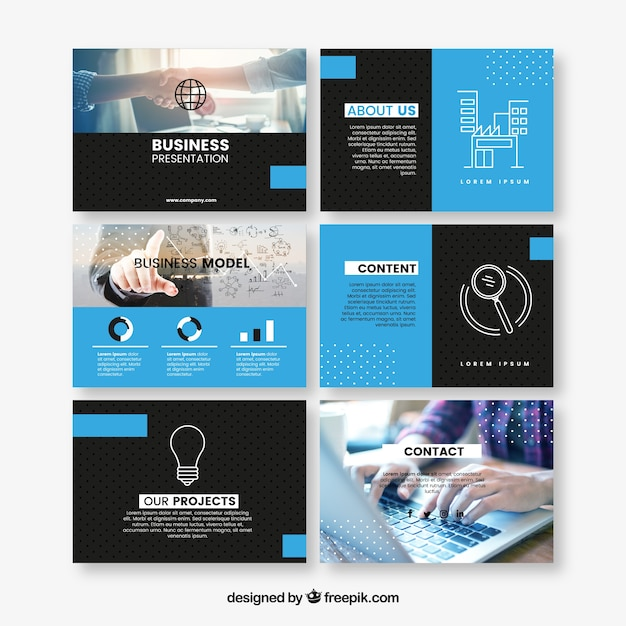 Blue stationery business presentation template Free Vector