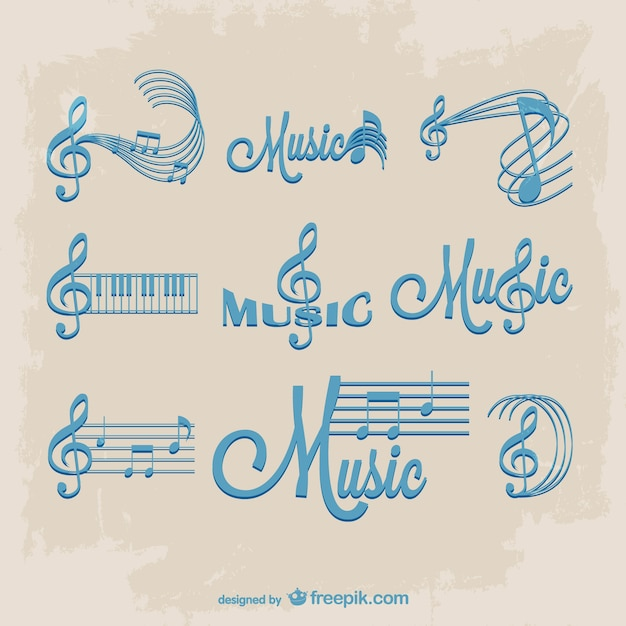 blue staves and music notes logos vector free download