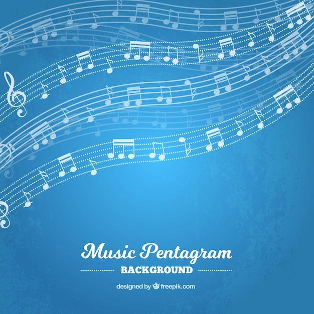 Doghe blu con le note musicali Vettore gratuito