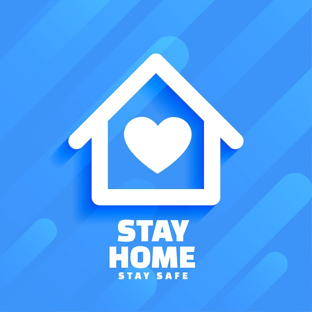 Blue stay home and safe background design Free Vector