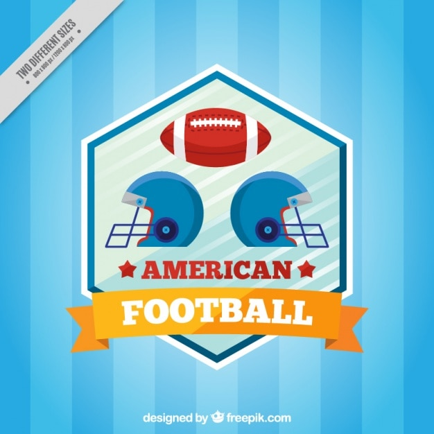Blue striped background with american football\ helmets and ball