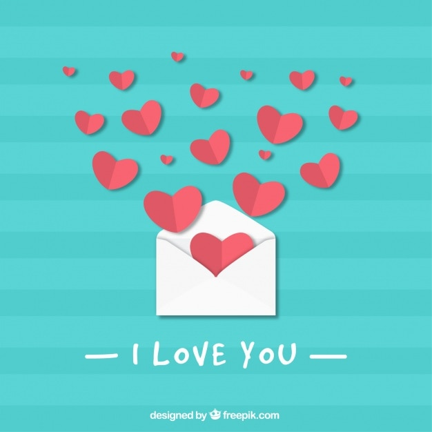 Blue striped background with envelope and hearts for valentine's day Free Vector