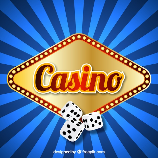 Blue striped background with luminous sign of casino and dice Free Vector