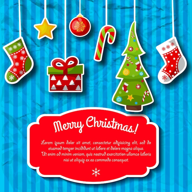 Blue striped holiday postcard with christmas decorations and red text field Free Vector