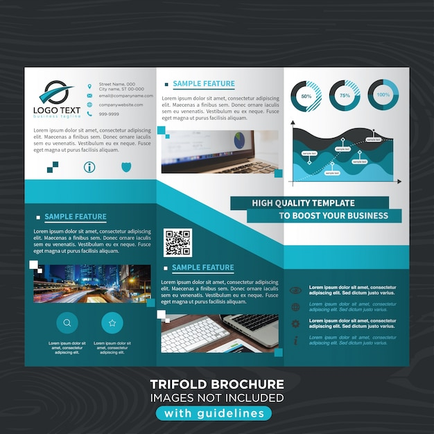 blue stylish business trifold brochure template vector free download