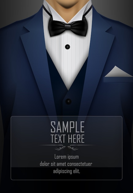 Blue suit and tuxedo with black bow tie Premium Vector