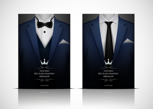 Blue suit and tuxedo with bow tie Premium Vector