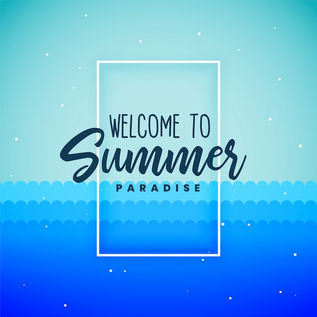 Blue summer paradise background poster Free Vector