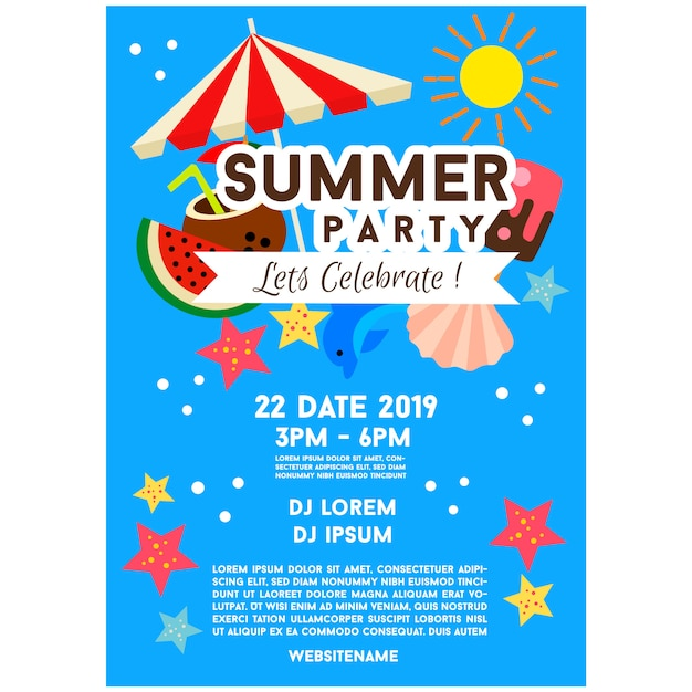 Blue summer party poster template illustration Premium Vector
