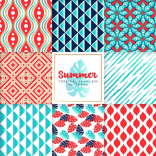 Blue summer pattern collection Free Vector