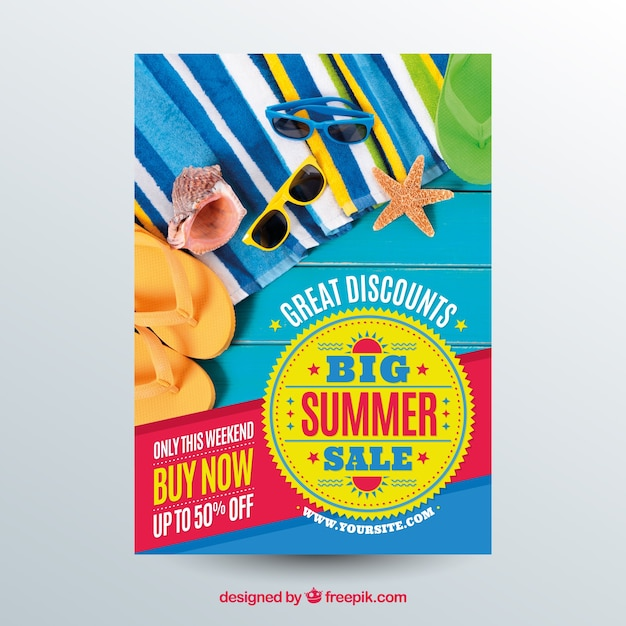 Blue summer sale flyer template with image Free Vector