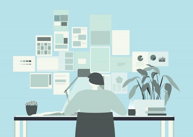 Blue teal office room Premium Vector