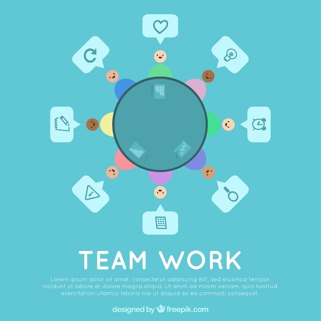 Blue teamwork concept