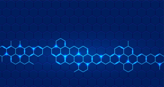 Blue technology background with hexagonal glowing Free Vector