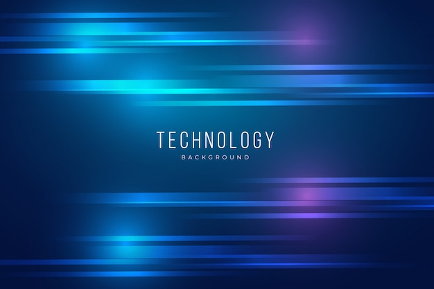 Blue technology background with lights effect Free Vector