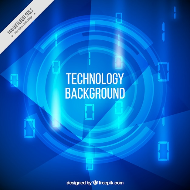 Blue technology background with numbers