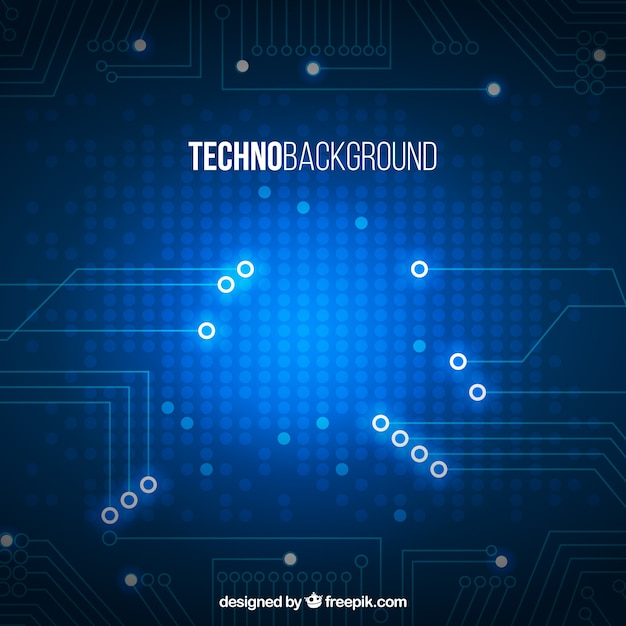 Blue technology background with shiny shapes
