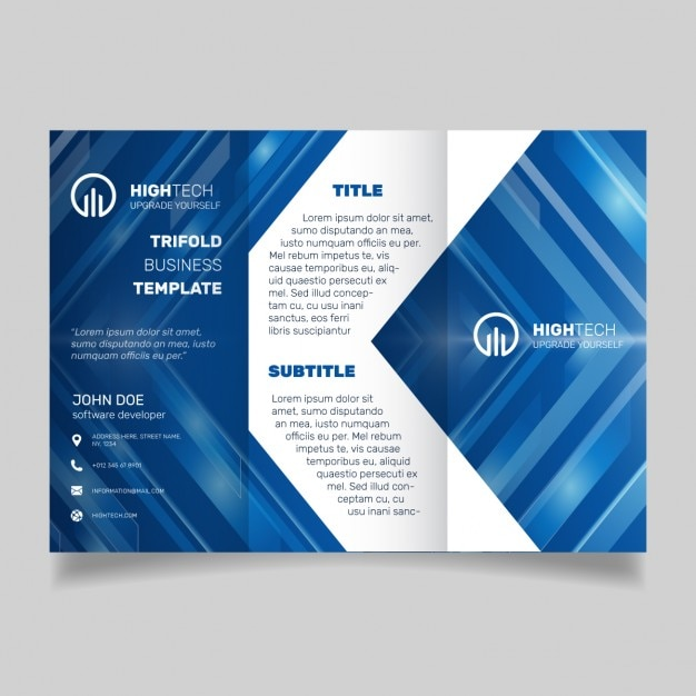 Blue technology brochure template vector free download for Technology brochure templates