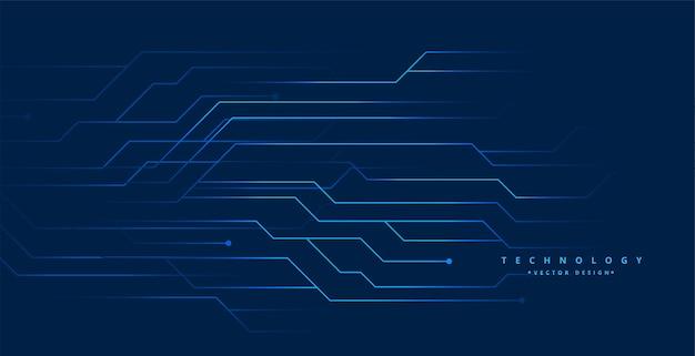 青い技術回路ラインデジタル背景デザイン 無料ベクター