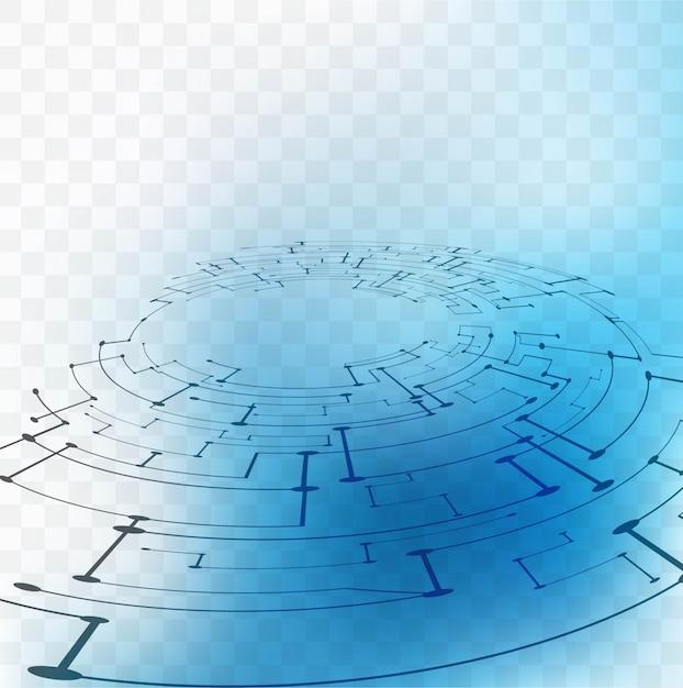 Blue technology elements on a transparent\ background