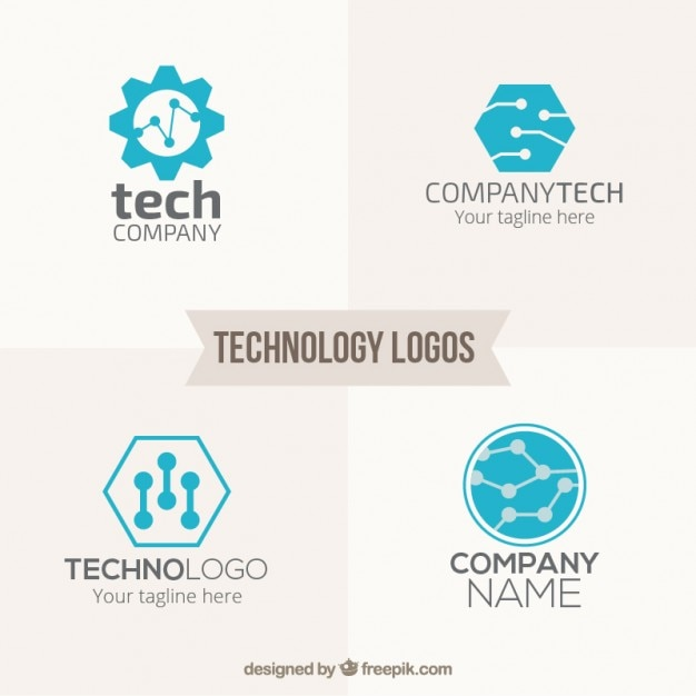 Blue technology logos pack Free Vector