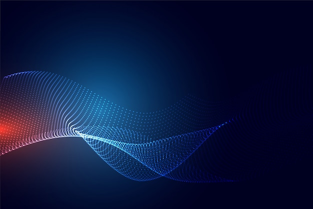 Blue technology particle background Free Vector