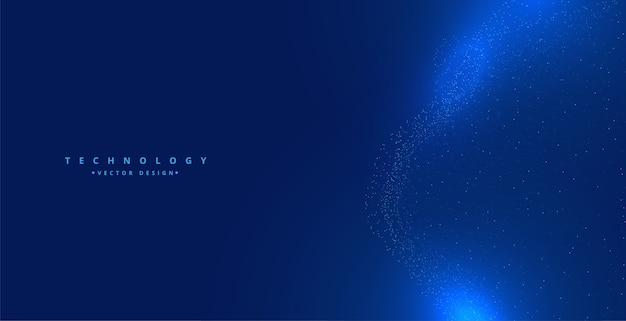 青いテクノロジー粒子輝くデジタル背景デザイン 無料ベクター