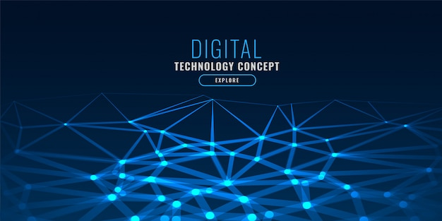 Blue technology style low poly glows background Free Vector