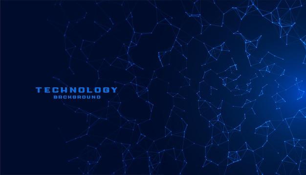 ネットワークメッシュラインを備えたブルーテクノロジー 無料ベクター