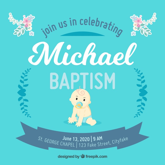 blue template for baptism vector free download