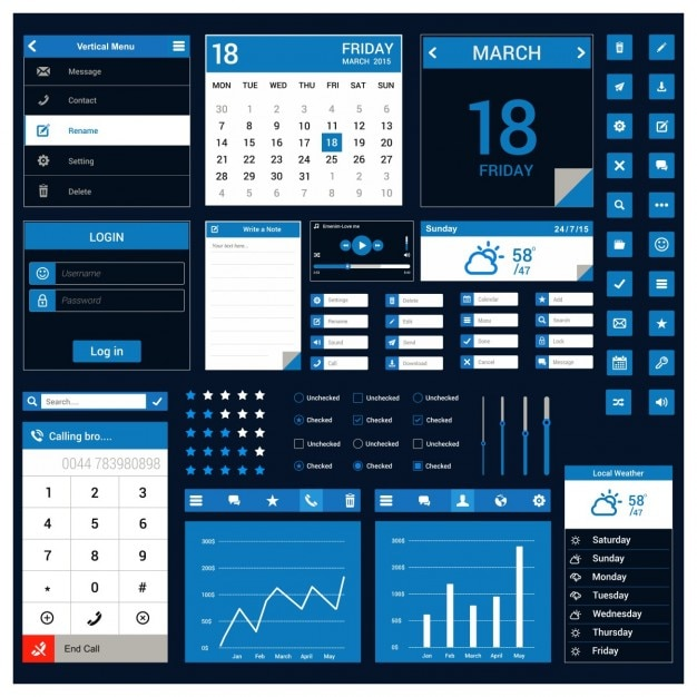 Blue template for mobile application Free Vector