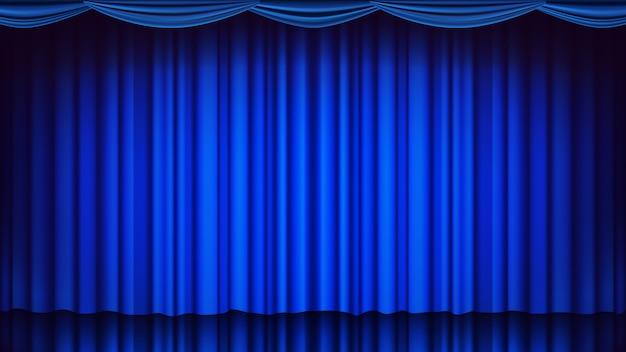 Синий театральный занавес на фоне. театр, опера или кино пустая шелковая сцена фон, голубая сцена. реалистичная иллюстрация Premium векторы