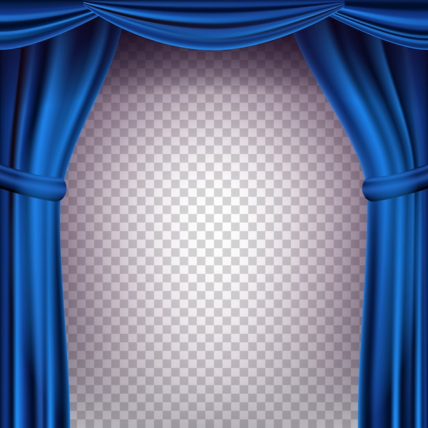 Blue theater curtain backdrop. transparent background for concert, party, theater, dance template. realistic illustration Premium Vector