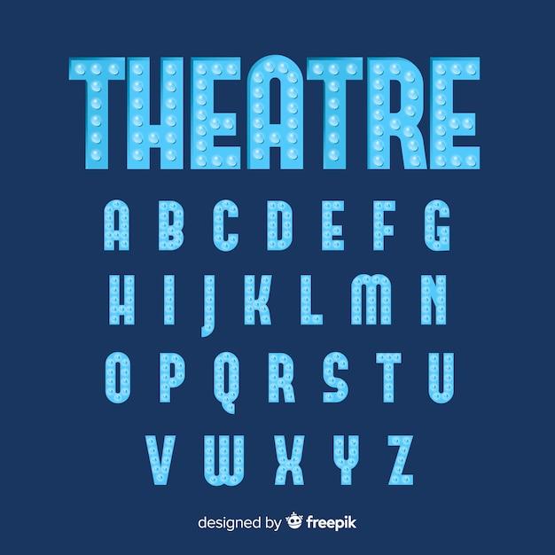 Blue theater light bulb alphabet Free Vector