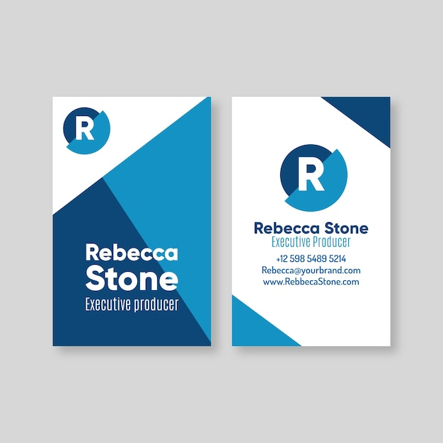 Blue theme for business card concept Free Vector