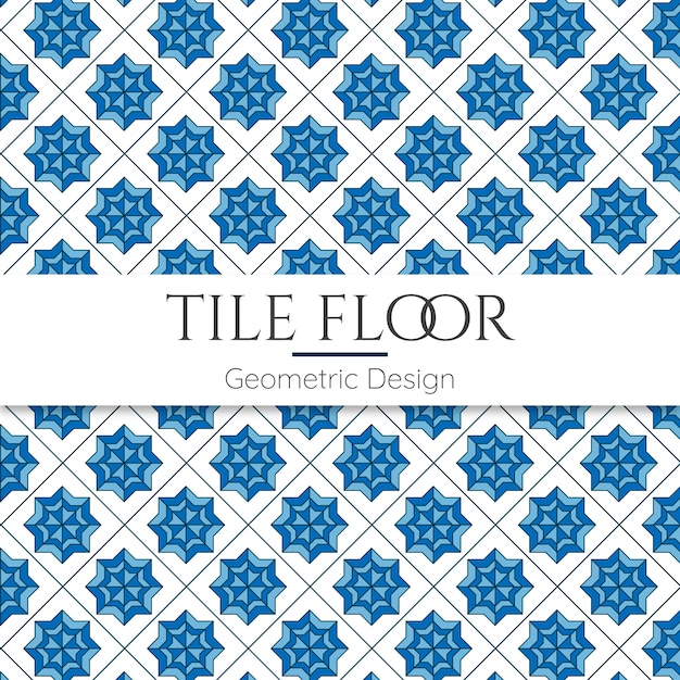Blue tile floor abstract geometric seamless pattern Premium Vector